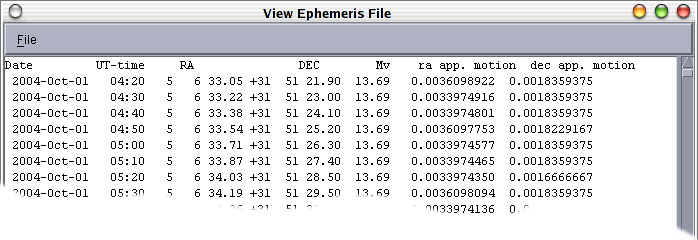 the viewing window for ephemeris files