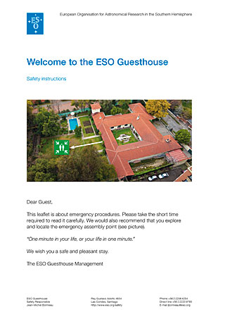 ESO Guesthouse Safety Instructions