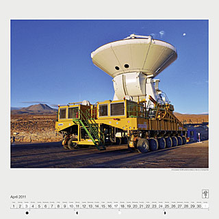 April 2011 — A European ALMA antenna takes a ride on a transporter