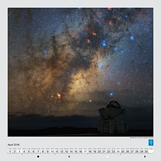 April - Milky Way over one of the VLT's Auxiliary Telescopes