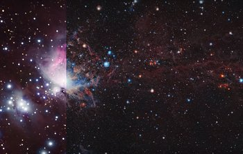 Comparison of the Orion Molecular Cloud in visible and infrared